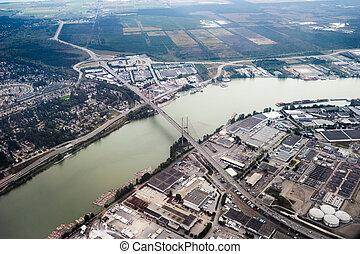pont, colombie, britannique, vancouver, vue aérienne