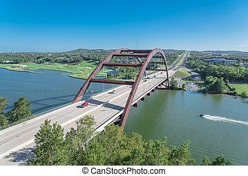 pont, colorado, jet-ski, sur, 360, pays colline, rivière, austin, paysage