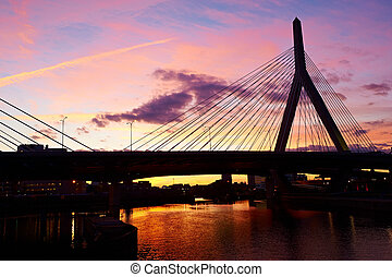 pont, commémoratif, coucher soleil, colline, soute, zakim