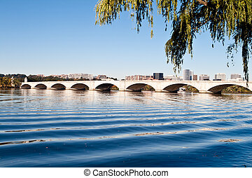 pont, commémoratif, usa, washington dc, rivière potomac