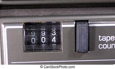 pont, compteur, tourner, magnétophone cassettes bande, audio