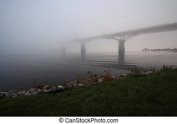 pont, construction, brume