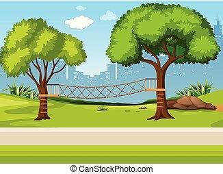 pont corde, cour de récréation