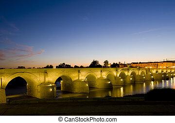 pont, cordoue, andalousie, romain, nuit, espagne