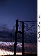 pont, coucher soleil