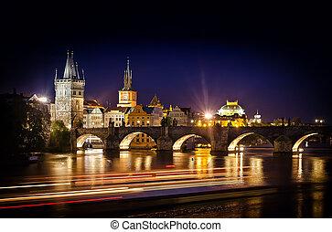 pont, coup, prague, charles, nuit, rivière