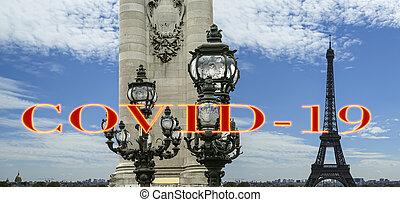 pont, covid-19, paris, concept, signe., iii, voyage, covid, france., europe., alexandre, tour eiffel, coronavirus, pandémie