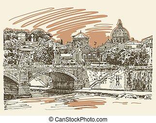 pont, croquis, italie, original, rome, cityscape, type, dessin