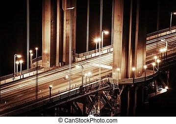 pont, détails, portail, doré