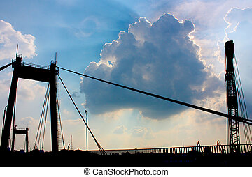 pont, dans, industriel, partie, kiev