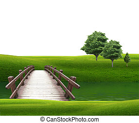 pont, dans, les, bois, travers, les, rivière