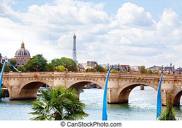 Pont des Invalides bridge in Paris and Eifel tower France