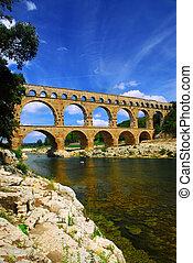 Pont du Gard in southern France - Pont du Gard is a part of...