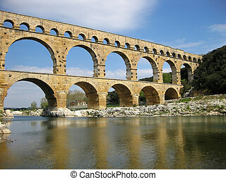 Pont du Gard is an old Roman aqueduct, southern France near Nimes