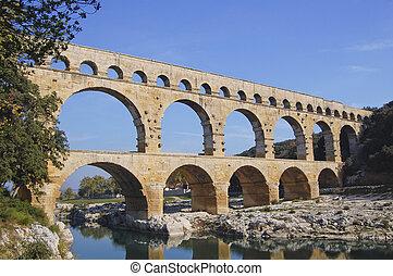 Pont du Gard Roman aquaduct near Avignon in France