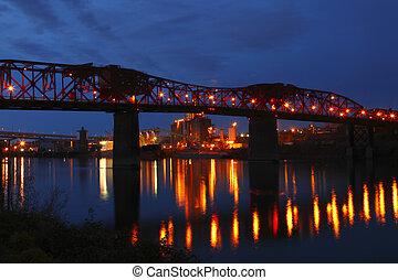 pont, dusk., &, ascenseurs, grain, broadway