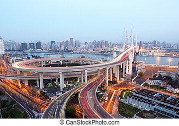 pont, dusk., shanghai, porcelaine, nanpu