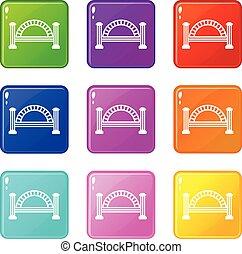 pont, ensemble, icônes, couleur, collection, métallique, 9