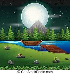pont, entiers, scène, lune, nuit, bateau rivière