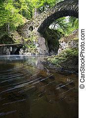 pont, ermitage, perthshire, ecosse, long, par, écoulement, ...