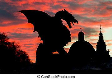 pont, europe., ljubljana, slovénie, dragon