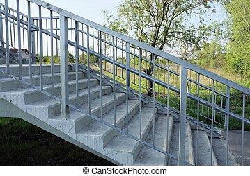 pont, fait, étapes, piéton, gris, partie, béton