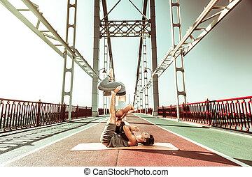 pont, femme, homme yoga, asanas