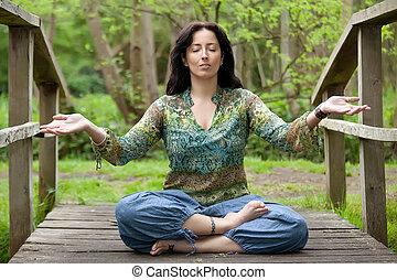 pont, femme, yoga