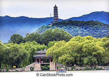 pont, feng, palais, été, pagode, porcelaine, beijing, yue