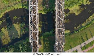 pont, ferroviaire, acier, rivière