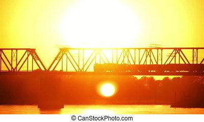 pont, ferroviaire, coucher soleil