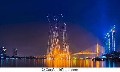 pont, feux artifice, rivière, bangkok, 9, thaïlande, chaopraya, rama