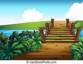 pont, fond, scène, ruisseau, travers