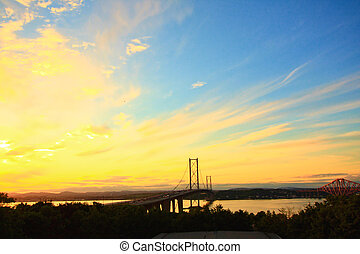 pont, forth, coucher soleil, route