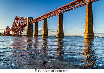 pont, forth, ecosse, coucher soleil, route