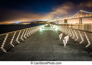 pont, francisco, 14, jetée, -, san, baie, francisco, oakland, nuit, california.