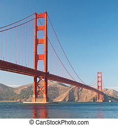 pont, francisco, san, coucher soleil or, portail, pendant