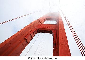 pont, francisco, san, doré, matin, brouillard, portail