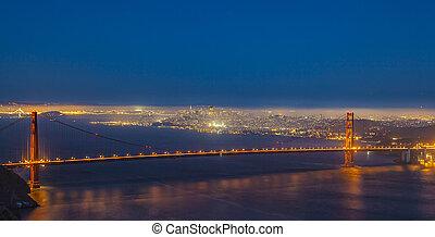 pont, francisco, san, doré, nuit, portail