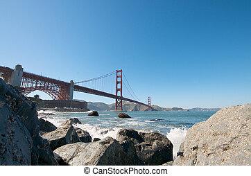 pont, francisco, san, porte or, plage