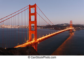 pont, francisco, san, usa, doré, /, élevé, au-dessus, portail, crépuscule, vue