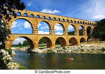 pont, gard, du, 南方, 法國