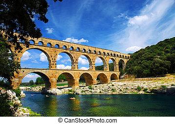 pont, gard, du, méridional, france