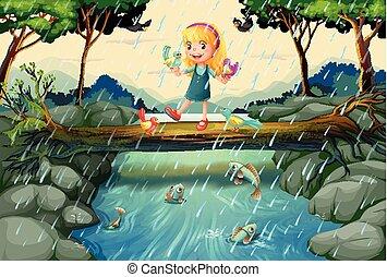 pont, girl, scène, pleuvoir