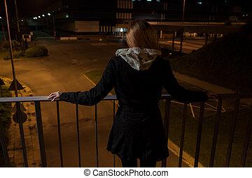 pont, girl, suicide, avant