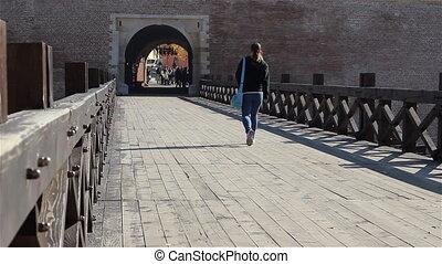 pont, girl, vieux, marche