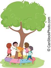 pont, gosses, stickman, arbre, illustration, cour de récréation