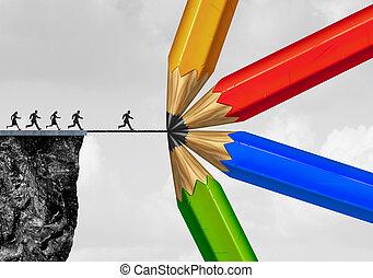 pont, groupe, dessin