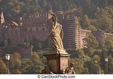 pont, heidelberg, vieux, minerva, allemagne, statue