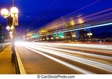 pont, heure pointe, pistes, lumière, cambie